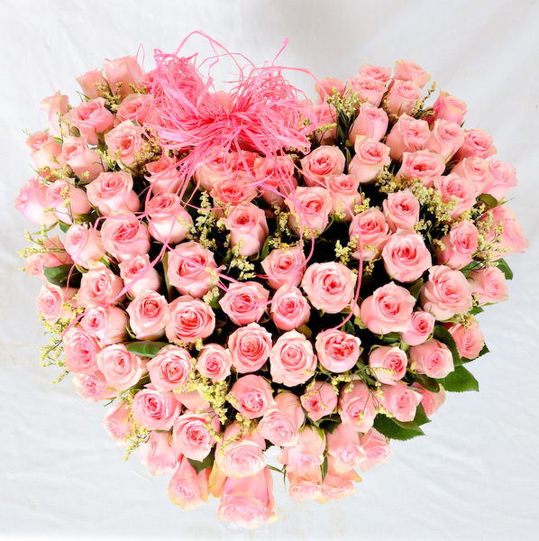Marc Bohan Love Flower Basket with Pink Roses
