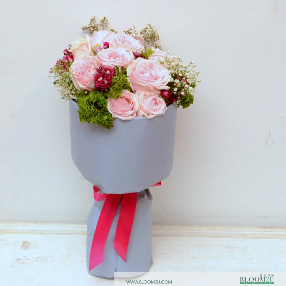 Riri Pink Roses Bouquet by Bloom2U
